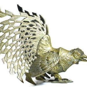 Mid Century Modern Brass Fighting Rooster